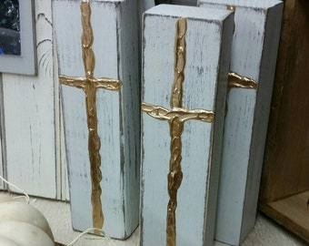 Hand Painted Wooden Gold Cross Block
