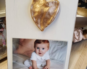 Gold Gilded Hand Shaped Heart Wood Frame 4x6 Photo Painted Distessed Oyster White Baby or Sweetheart Gift