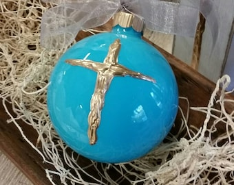 Handmade Ornament - Gold Leaf Cross - Turquoise - Gift - 3 1/4 Diameter Glass Christmas, Hostess, Or Gift Exchange With Hanging Ribbon