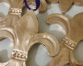 Gold Leaf Handmade Clay Hanging Fluer de lis  - Ornaments Or Gift Tags - Blessing - Hostess Gift - Housewarming - Mardi Gras - Nola