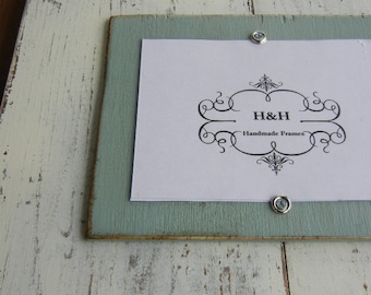 Wood Plank Triple Handmade Picture Frame - Aged White Wash Finish and Annie Sloan Duck Egg Blue Single Mats.