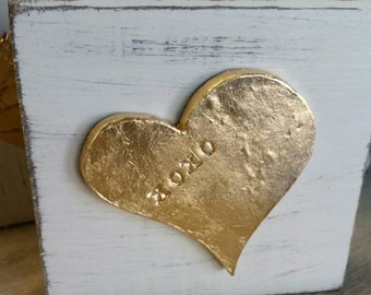 Handmade Gold Leaf Heart With XOXO - On Wood Distressed White   Block - Valentine Gift For Loved One - Art Piece - Gift