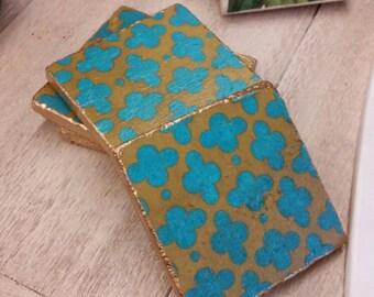 Coasters Moroccan Aqua - Gold Edge -Travertine Drink Coasters - Set of 4