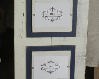 Wood Plank Double Handmade Picture Frame - Aged White Wash Finish with Double Wood Mats White and Navy Blue Mats.