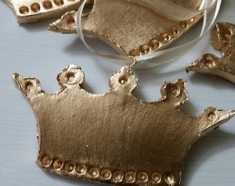 Gold Handmade Ornament Wide Crown With Dots With Cream Hanging Ribbon - Gift Tag - Mardi Gras