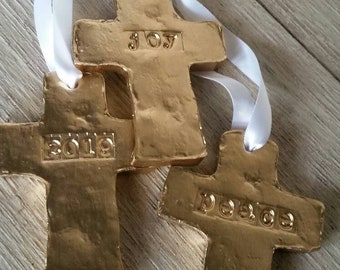 Gold Handmade Small Clay Hanging Cross - Ornaments - Christmas -  Or Gift Tags - Blessing - Hostess Gift - Housewarming