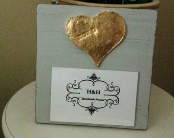 Handmade Wood Frame Painted Gray Distressed With A Gold Leaf Heart with XOXO- Baby - Baptism - House Warming Gift or Just A Little Happy.