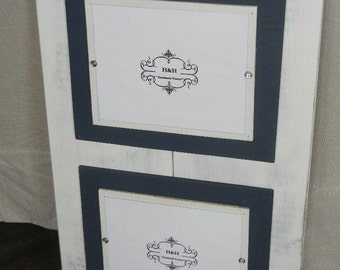 Wood Plank Handmade Double 8x10 Picture Frame - Aged White Wash Finish with Double Wood Mats White and Navy Blue Mats.