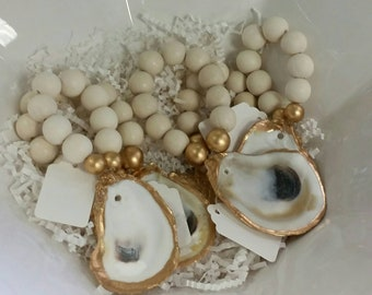 Oyster Shell With Gold Leaf - Beaded Napkin Ring-Hostess Gift - Housewarming -Coastal Chic - Table Setting