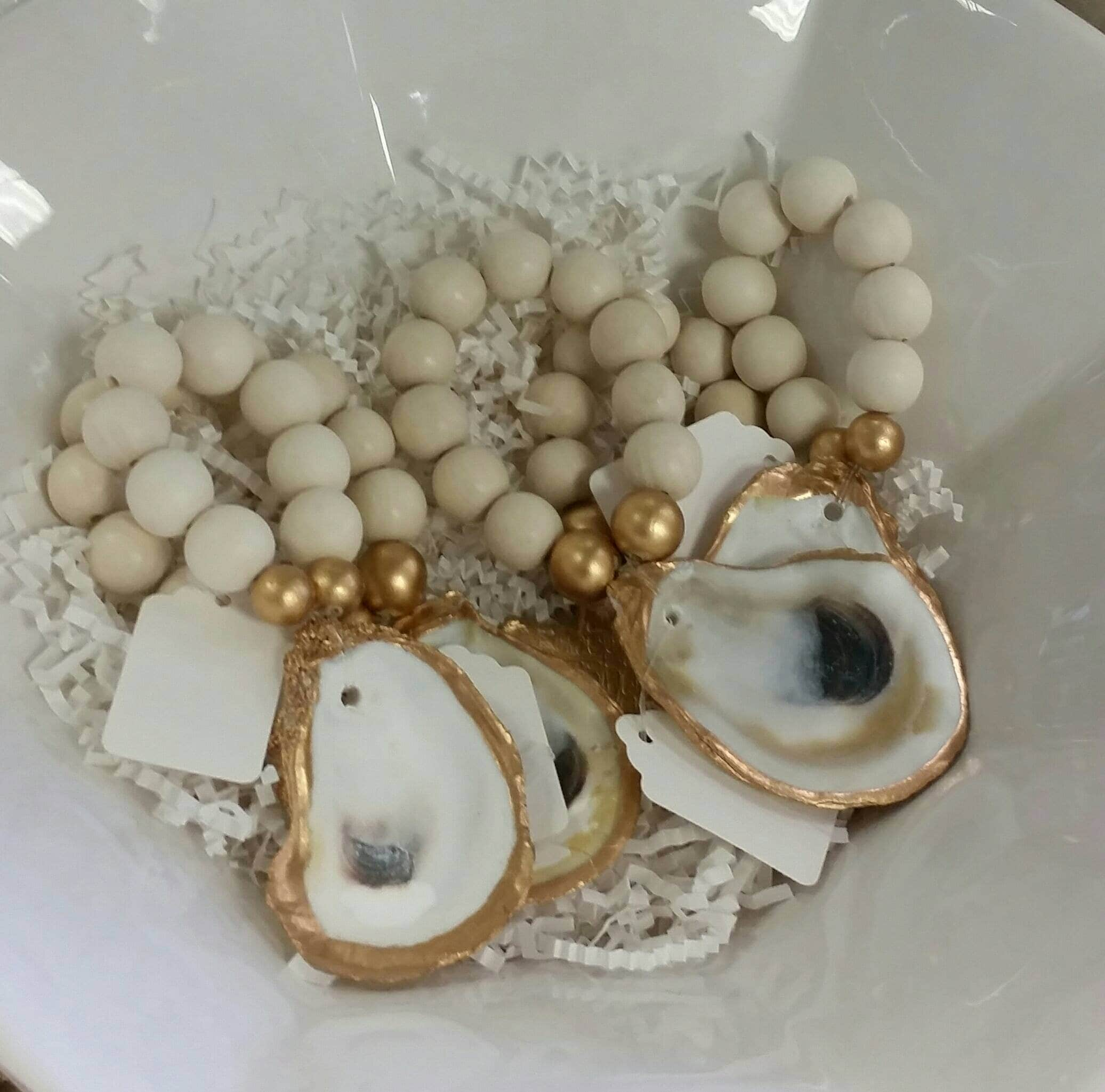 Oyster Shell With Gold Leaf Beaded Napkin Ring Hostess Gift Housewarming Coastal Chic Table Setting