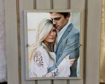 Large Handmade Beadboard Picture Frame - to hold 8x10 photo. Distressed Grey aged finish with a wood mat - Picture Wall- Grouping - Wedding.