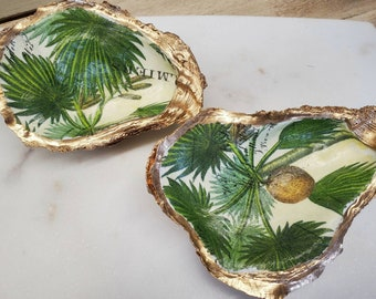 Oyster Shell With Palm Design Coastal Hostess Gift Bridesmaid Gift Housewarming Ring Dish Home Decor.