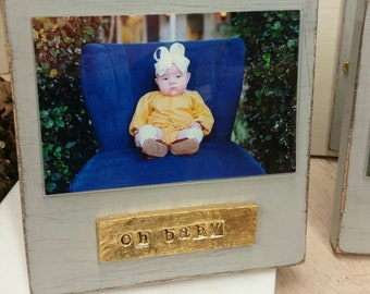 Handmade Wood Frame 4x6 Photo Painted Distressed Gray With A Gold Leaf Personalized Plaque -oh baby or beach life - Gift.