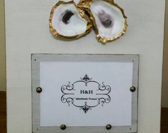 Oysters With Gold Leaf on Handmade Wood Picture Frame - Painted and Distressed Old White and Gray - 5x7 Photo - Coastal - Gift - Beach.