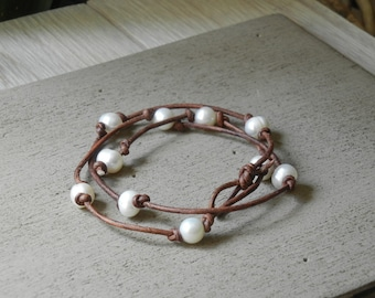 Special - Free Shipping  Wrap Bracelet Handmade Freshwater Pearl and Leather - Can also be worn as a necklace long or short.