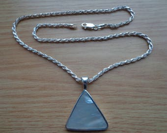 Mother of Pearl triangle pendant with French rope chain.