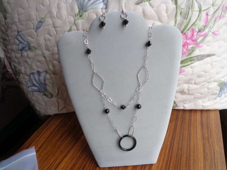 Sterling silver .925 necklace with  Onyx  beads .