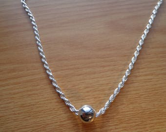 Silver French rope chain, with silver bead.