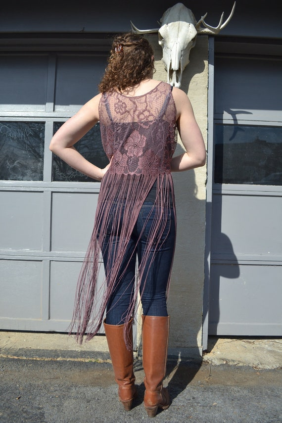 Mega fringe lace top