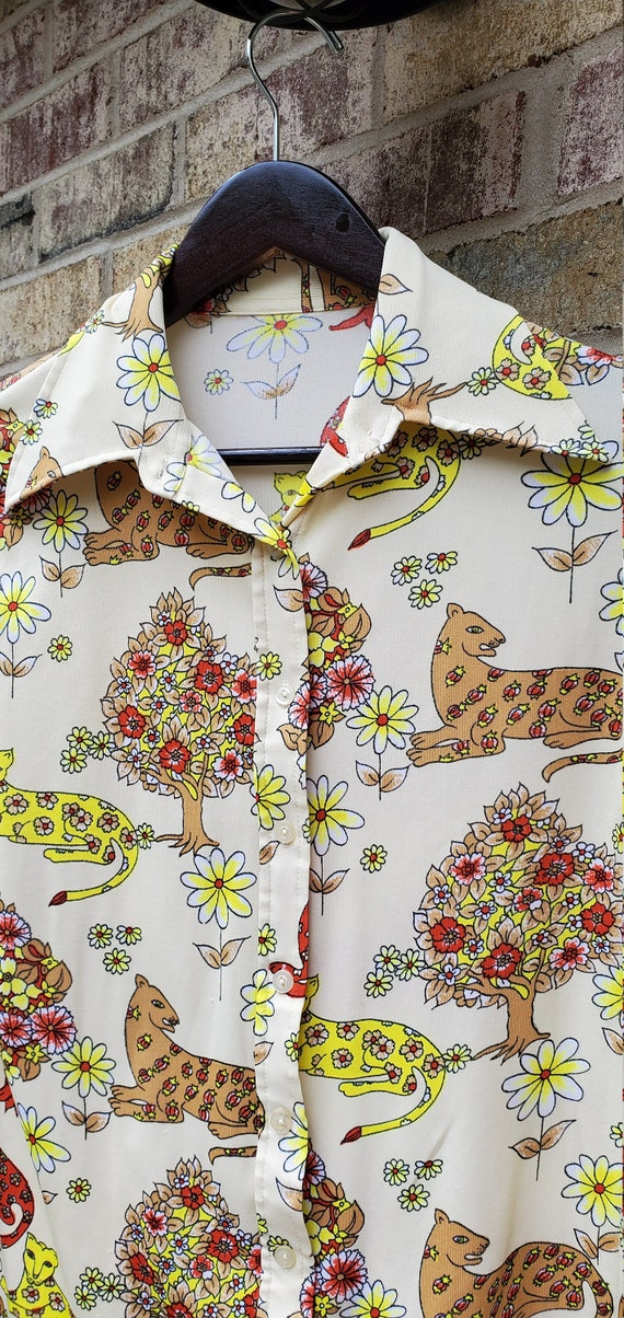 Lounge Leopard 1970s Polyester Shirt