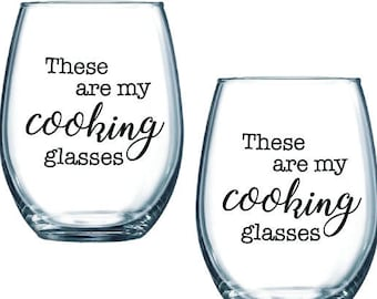 these are my cooking glasses stemless wine glasses - SET OF 2 - gift for cook, mom, chef, kitchen lover, housewarming. Customize the colors!