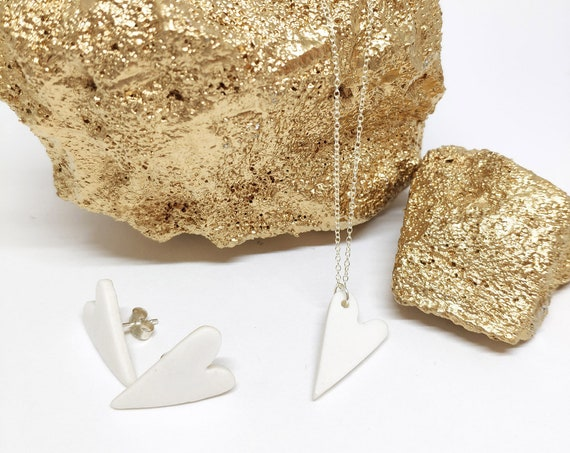 white porcelain heart set / sold separately
