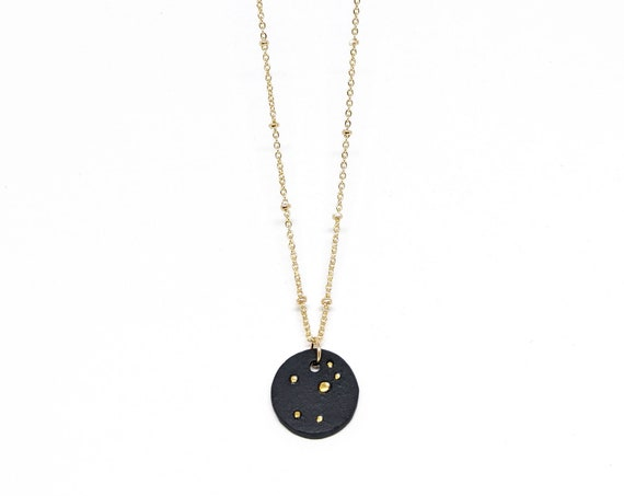 Céleste porcelain choker necklace on gold plated satellite chain