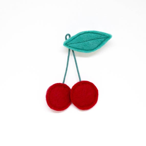 fluffy felt cherry brooch