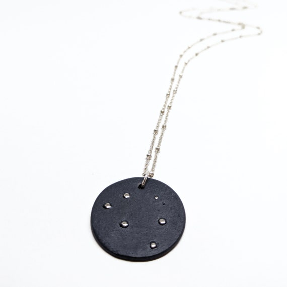 Céleste long necklace, black porcelain, silver chain and platinium drops