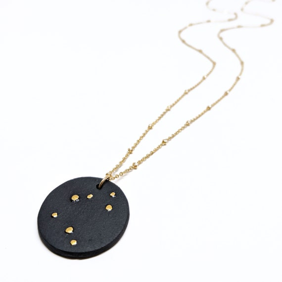 Céleste long necklace, black porcelain, gold plated chain and gold drops