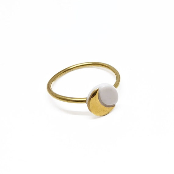 Moon porcelain mini stud earrings with gold and silver