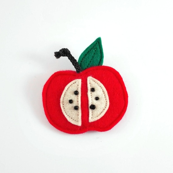 red apple brooch made with felt