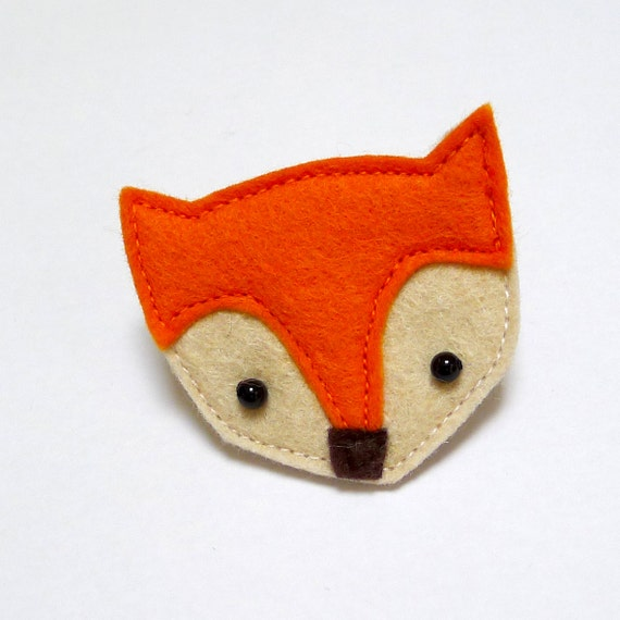 orange fox brooch made with felt