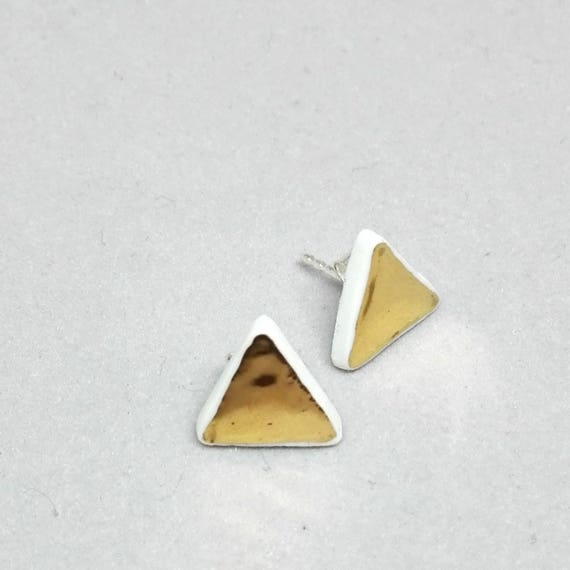 "earring studs  ""Triangles d'Or"" porcelain and gold jewelry"