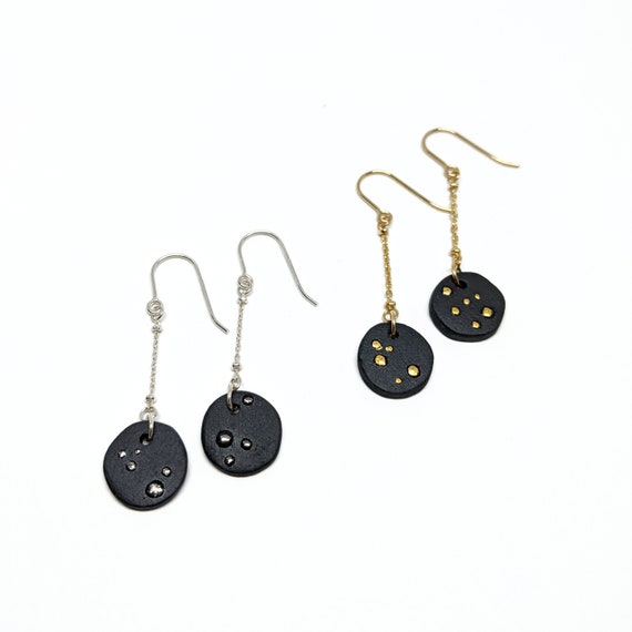 CELESTE black porcelain dangling earrings