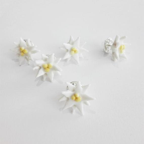 Porcelain Edelweiss pin