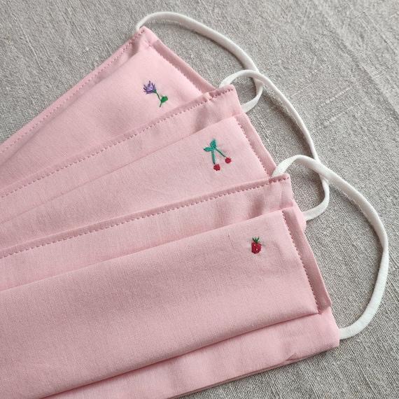 Masque barrière en coton 3 épaisseurs rose