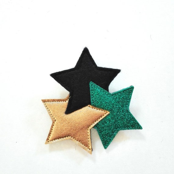 green and gold sparkling  three stars brooch