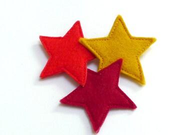 three stars brooch orange