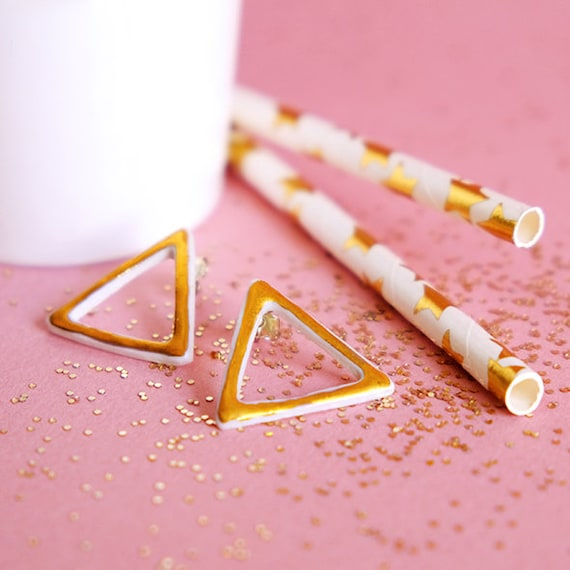 Triangle porcelain silver and gold earrings
