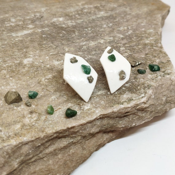 earrings Fragment / Pyrite and Aventurine
