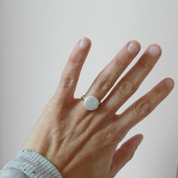 adjustable iridescent bubble ring / silver and porcelain