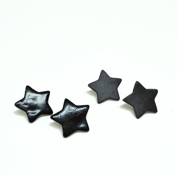 Matte black porcelain star earrings