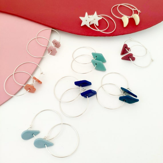 porcelain and silver hoop earrings SMALL FORMS