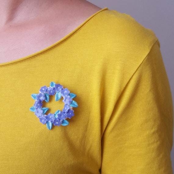 Porcelain Myosotis or Mimosa brooch