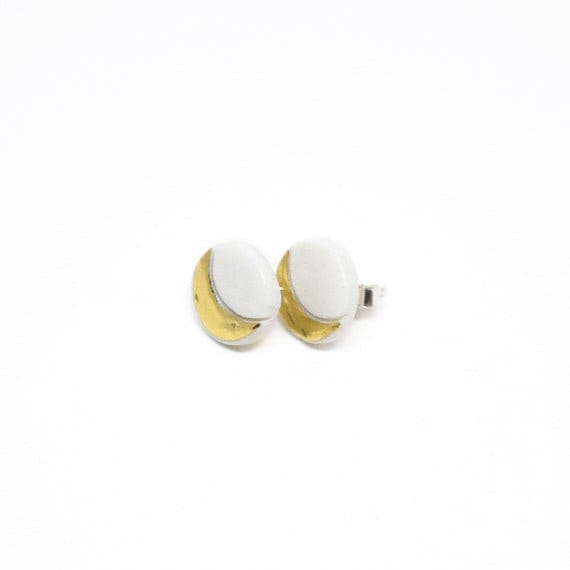 Eclipse Moon porcelain  stud earrings with gold and silver