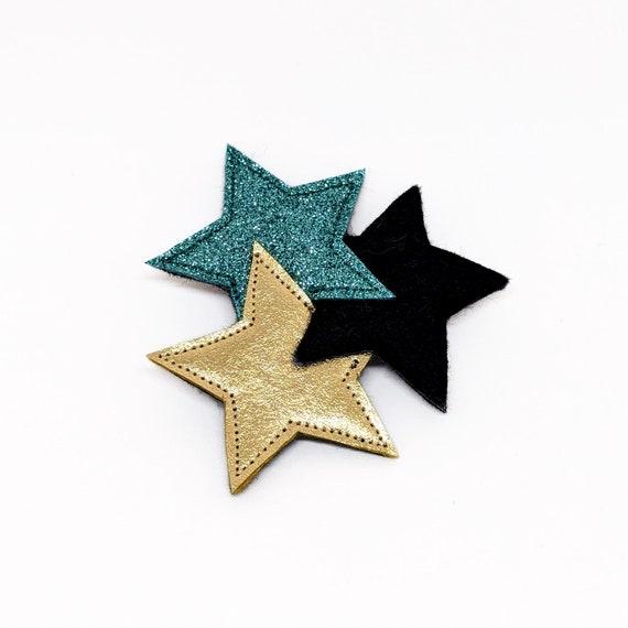 celadon and gold sparkling  three stars brooch