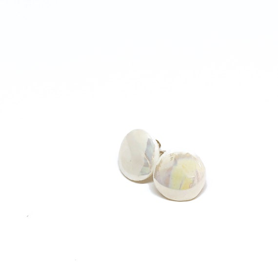 Little round stud earrings iridescent porcelain