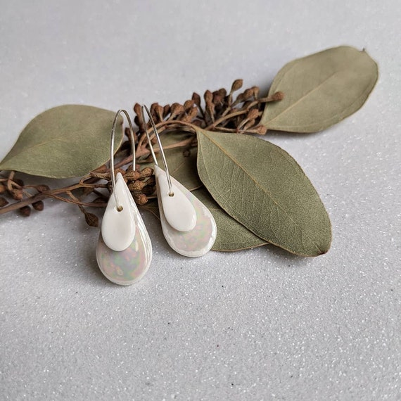 silver Hoops earrings iridescent porcelain