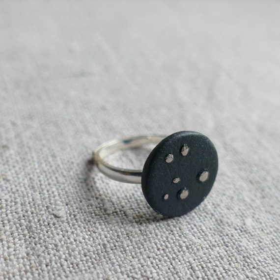 adjustable black porcelain ring / Céleste / silver and porcelain